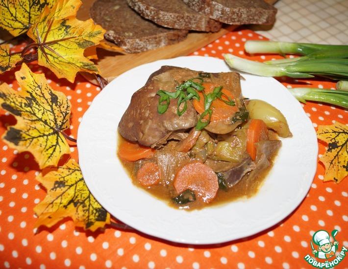 Рецепт: Печень говяжья с овощами