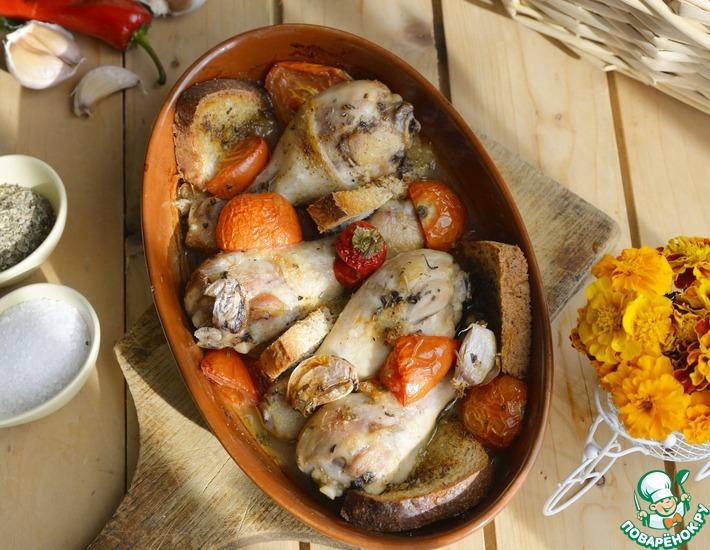 Рецепт: Ароматная курица, запечённая с хлебом