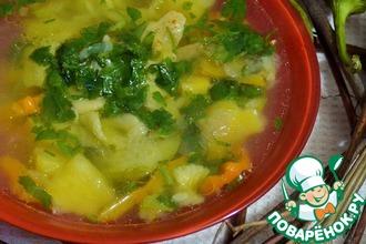 Рецепт: Овощной суп с курицей и макаронами