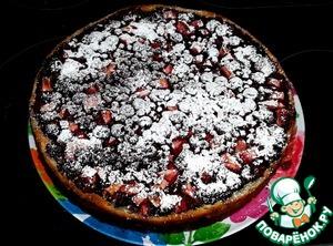 При желании можно посыпать остывший пирог    сахарной пудрой. Фото разрезанного пирога нет,    к сожалению. Очень вкусно и с молоком, и с кофе    и с чаем. Угощайтесь!