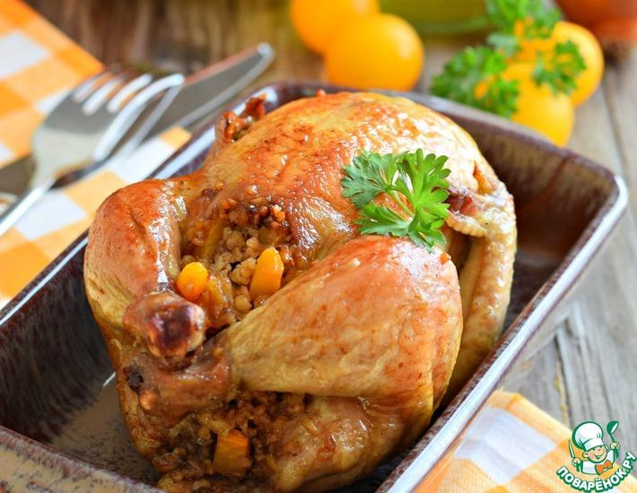 Рецепт: Цыплята, фаршированные пшеничной кашей и тыквой