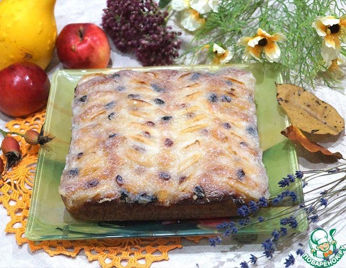 Рецепт: Пирог с яблоками и изюмом