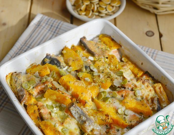 Рецепт: Лосось, запечённый с картофелем и тыквой