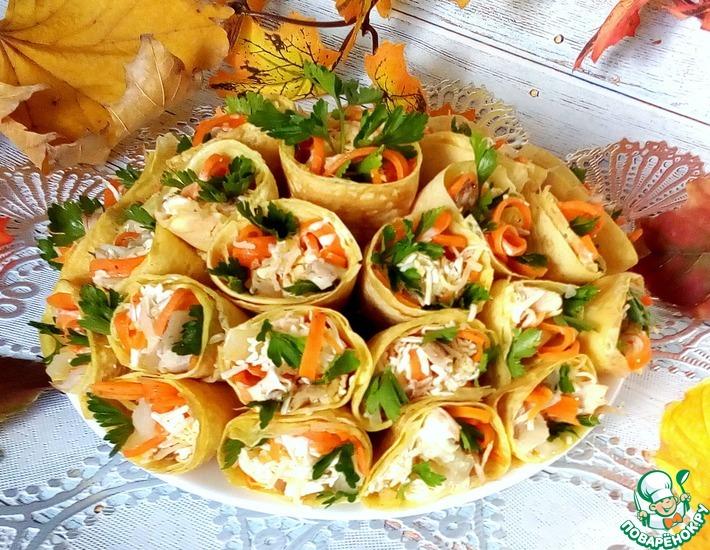 Рецепт: Солнечный салат в яичных блинчиках