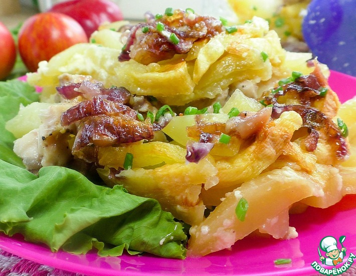 Рецепт: Картофель с курицей в микроволновке