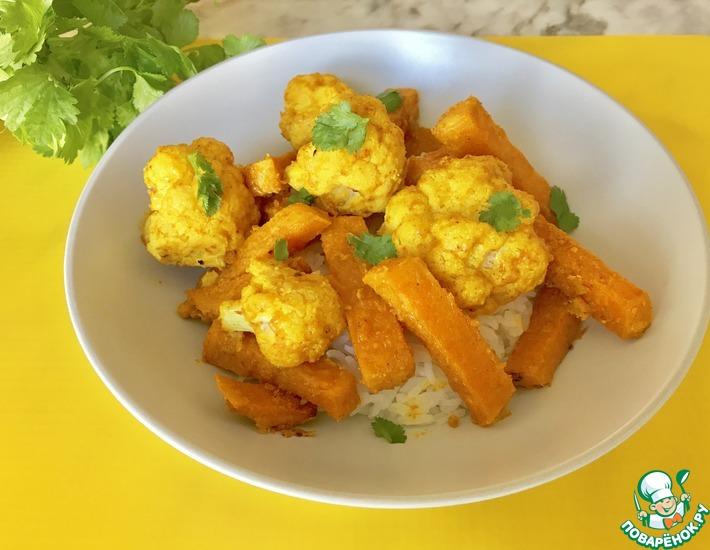 Рецепт: Цветная капуста, запеченная с кунжутной пастой