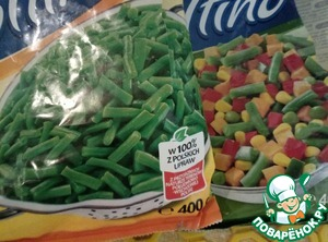 The secret ingredient is Mexican vegetable mix - carrots, corn and beans. green, in pods