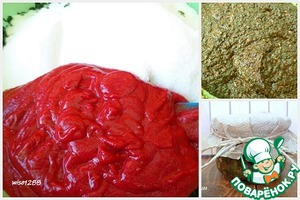 Then add salt, sugar, tomato paste and vegetable oil. Mix well. Banks to sterilize and put the seasoning on the banks.