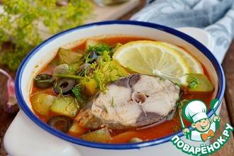 Рецепт: Солянка рыбная по-домашнему из пеламиды