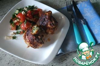 Рецепт: Фаршированные сыром куриные бедрышки в аджике