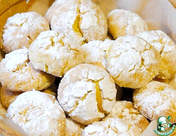 Рецепт: Лимонное печенье с трещинками