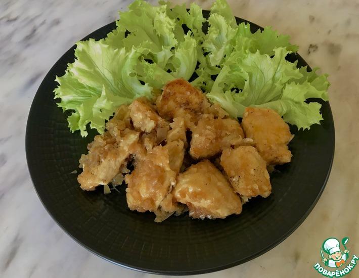 Рецепт: Куриное филе в луковой шубе