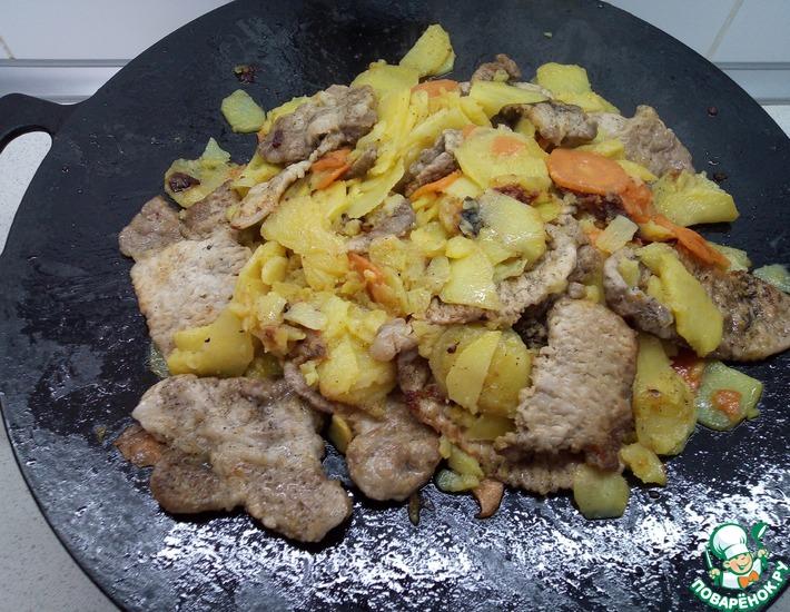 Рецепт: Отбивная из свинины с овощами