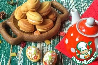 Рецепт: Печенье Орешки с творожным кремом и цукатами