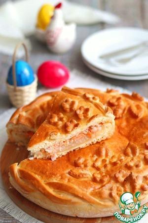 Пирог с семгой на желтках Масло растительное