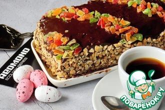Рецепт: Бисквитный торт с халвой