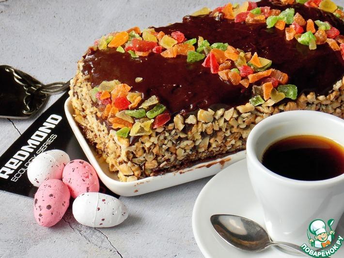 Бисквитный торт с халвой