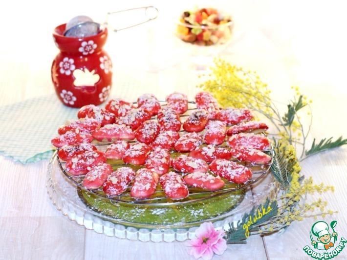 Печенье в шоколадно-малиновой глазури