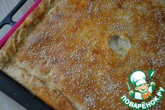 Рецепт: Пирог из слоеного теста с курицей