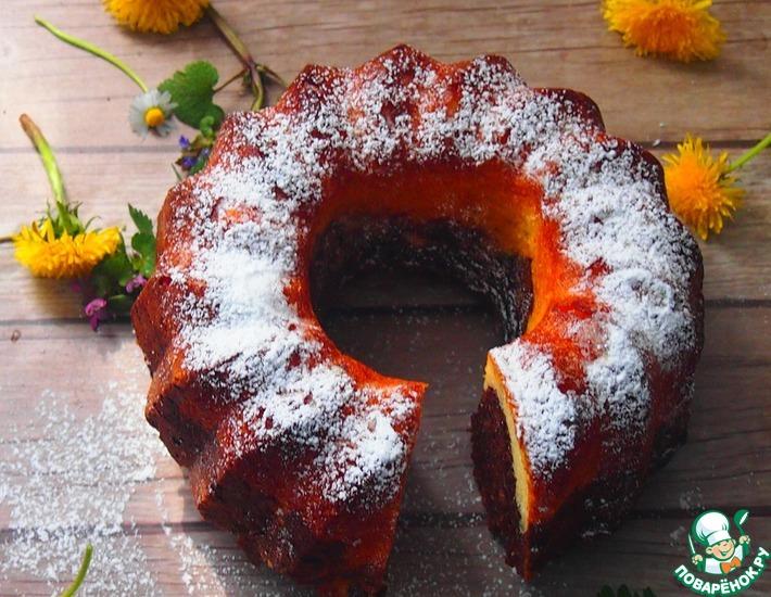 Рецепт: Двухцветный творожно-ореховый кекс