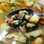 Суп с вешенками и белой фасолью