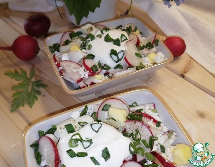 Рецепт: Салат с редисом и творогом