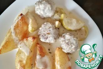 Рецепт: Фрикадельки и кабачки под йогуртовым соусом
