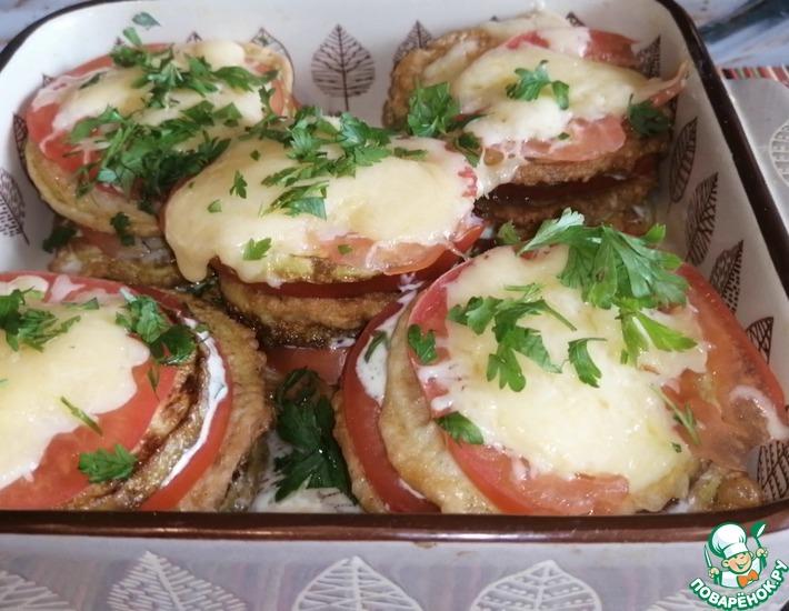 Рецепт: Кабачки в кляре с помидорами и сыром