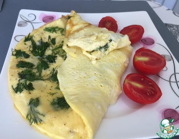 Рецепт: Омлет с сыром на молоке