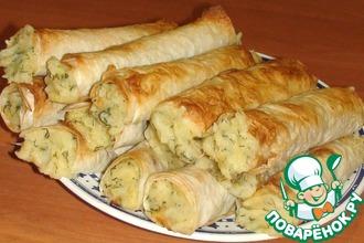 Рецепт: Трубочки из лаваша с картофелем