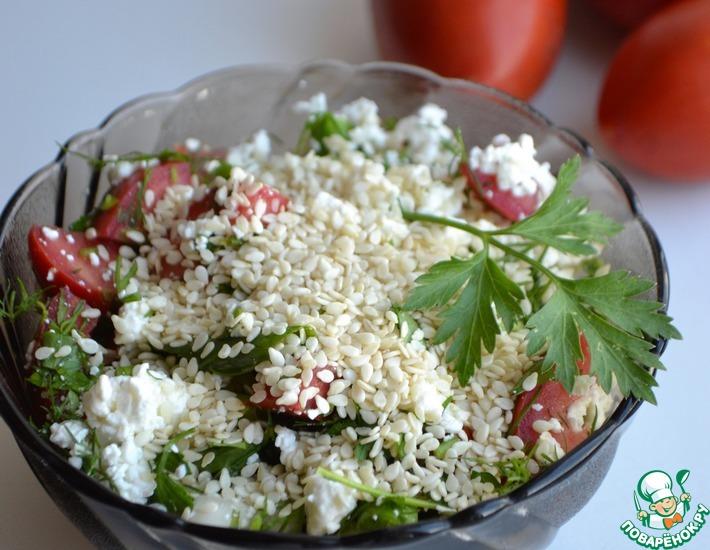 Рецепт: Салат из творога с кунжутом