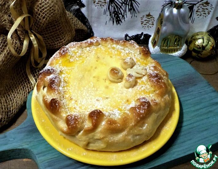 Рецепт: Пирог с творогом, тыквой и курагой
