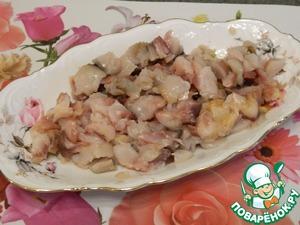 Необычная закуска с рыбой Верхняя часть яблока
