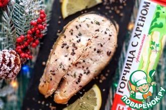 Рецепт: Стейки лосося, запеченные в сливочном соусе