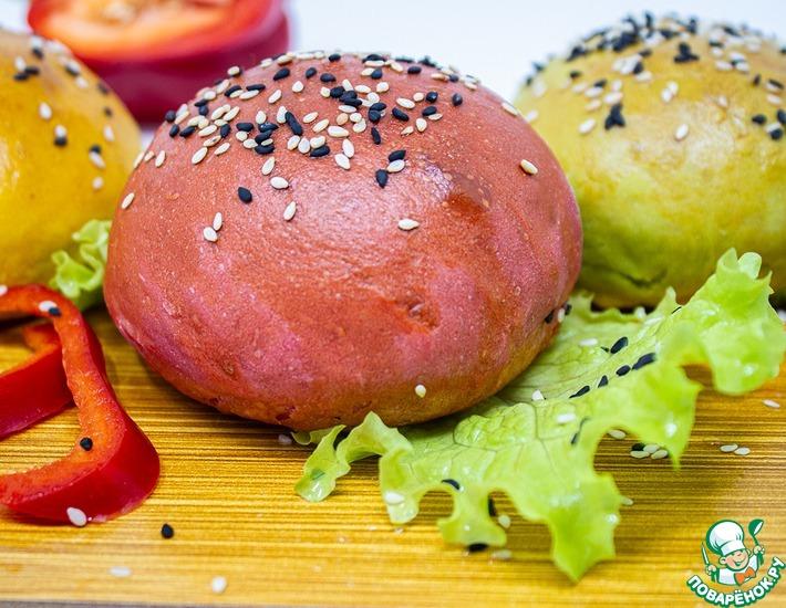 Рецепт: Цветные булочки для гамбургеров
