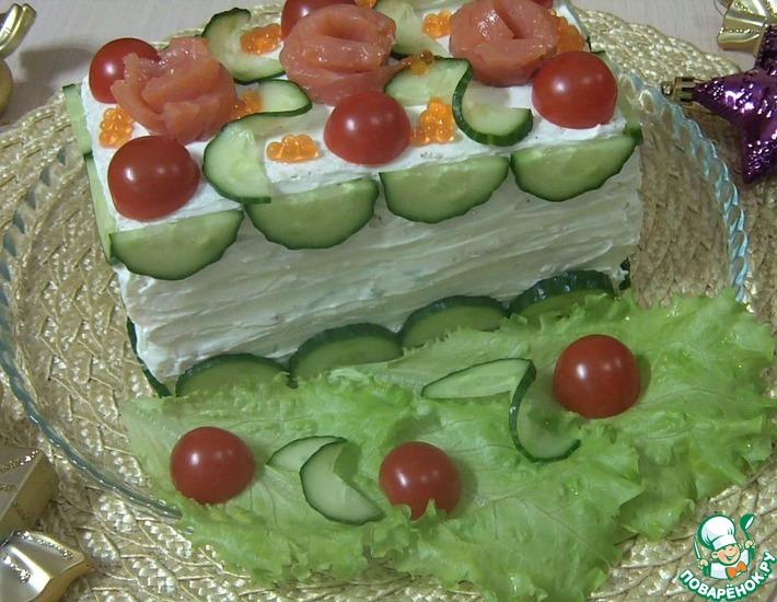 Рецепт: Праздничный бутербродный торт