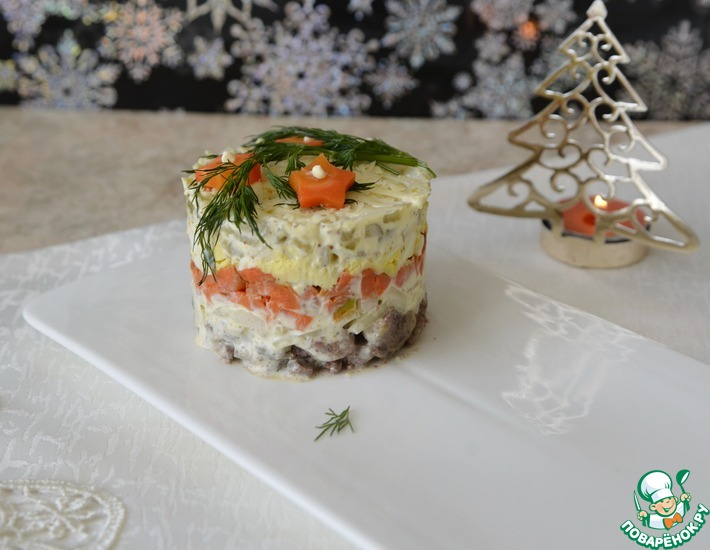 Рецепт: Слоёный печёночный салат
