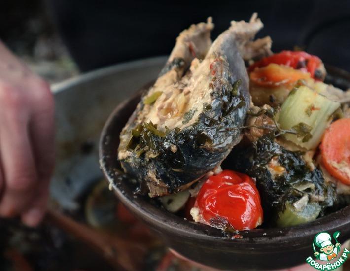 Рецепт: Рыба с овощами в казане