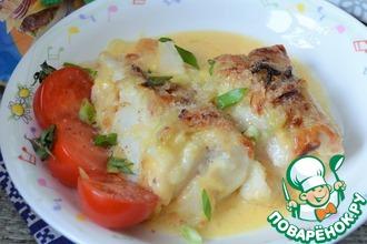 Рецепт: Запечённый морской язык с сыром