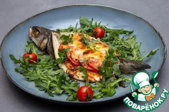 Рецепт: Запеченный сибас с сыром и овощами