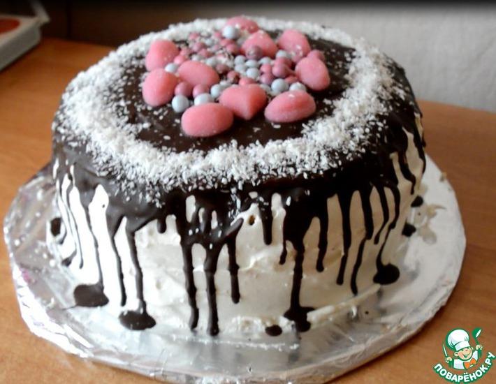 Рецепт: Торт с зефирным кремом Самый нежный