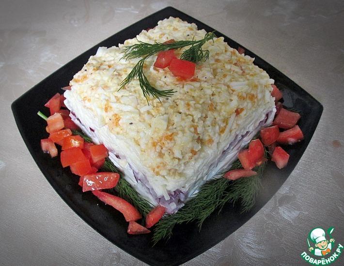 Рецепт: Салат с кальмарами и яблоком