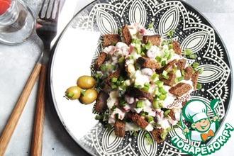 Рецепт: Салат с оливками и сухариками Экспресс