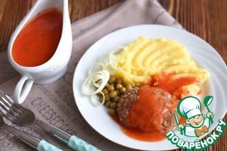 Рецепт: Котлеты с овощами под красным соусом