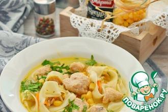 Рецепт: Суп-лапша с кнелями из горбуши