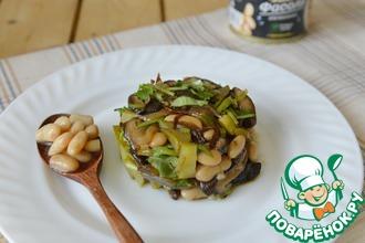 Рецепт: Теплый салат из фасоли с грибами