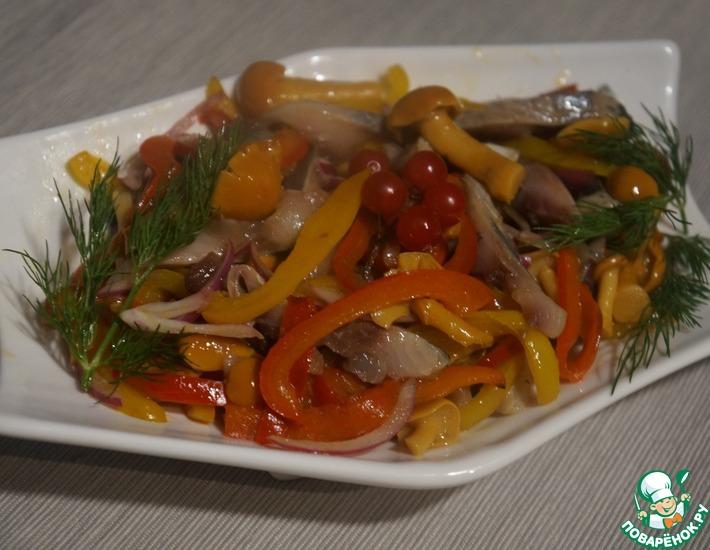 Рецепт: Салат закусочный Сельдь с грибами