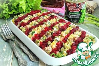 Рецепт: Картофельный салат с сельдью и горошком