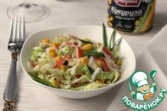 Рецепт: Крабовый салат с кукурузной заправкой