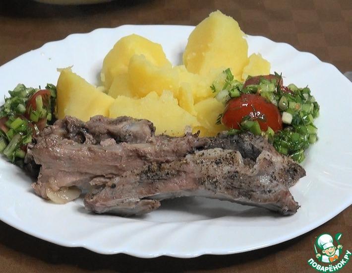 Рецепт: Мясо на водяной бане с травами